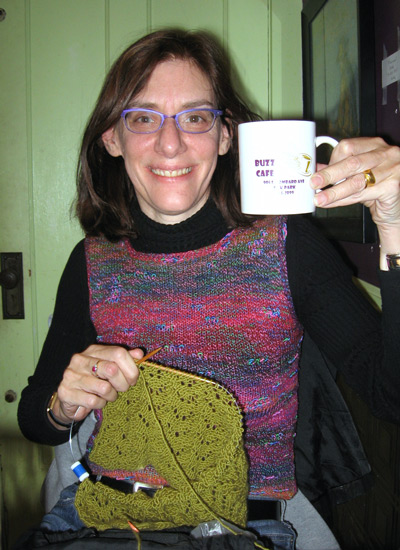 Heidi Cohen With Knitting and Cappucino at The Buzz